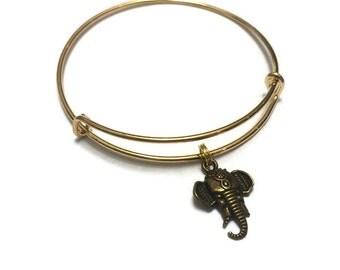 Elephant Charm Bracelet - Elephant Bracelet - Adjustable Bangle Bracelet - Elephant Bangle - Gold Elephant Jewelry - Stacking Bangles