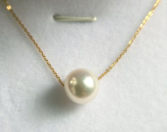 18k White / Gold / Rose Gold / Necklace with 8mm Akoya Pearl Hand made Necklace Made to Order Jewelry