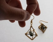 Gold geometric terranium jasper earrings, himelli chandelier earrings, octahedron brass earrings -
