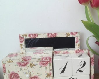 Perpetual Calendar Decoupaged/Decopatched in Emma Bridgewater's Rose And Bee