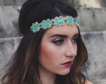 Boho headband, Hippie headband, Tribal headband, woman hair accessory, adult headband, hair accessory