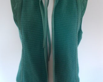 Vintage waistcoat jacket cardigan by Bleyle Made in west Germany green Knitted vest with suede leather trimming size medium