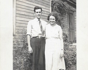 Young Love 1930s Photograph Happy Couple Just Married Pretty Woman Handsome Man Free Shipping