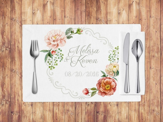 Printable wedding placemats with pink peony by obercaildesign for Table mats design your own