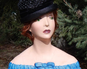 1960s Jaunty Black Straw Hat