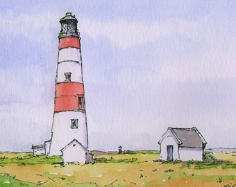 Watercolour, Pen and Ink Lighthouse Sketch - Original Painting with Cream Mount