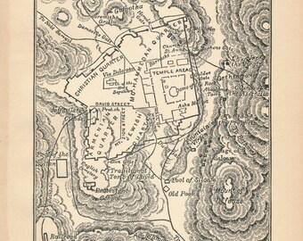 1929 Jerusalem Israel Antique Map