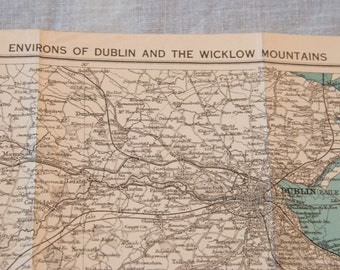 1920 Dublin Ireland Antique Map