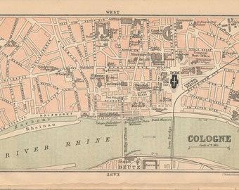 1894 Cologne Germany Antique Map
