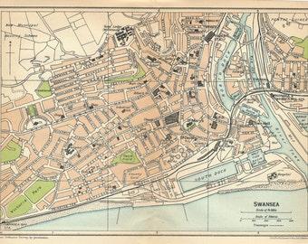 1930 Swansea Wales United Kingdom (Great Britain) Antique map