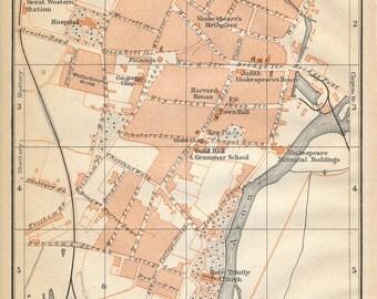 1910 Stratford-On-Avon United Kingdom (Great Britain) Antique map