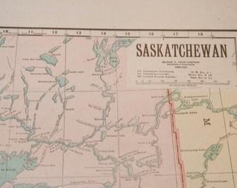1919 Saskatchewan Canada Antique Map