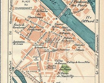 1932 Saumur France Antique Map