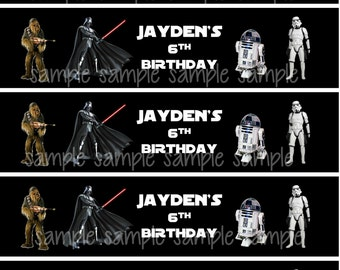 Star Wars Water Bottle Label - Printable - Digital - Birthday Party -  Personalized Customized