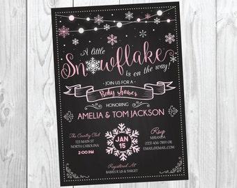 Winter Snowflake Baby Shower Invitation / Christmas Baby Shower Invite / Snowflake / Baby It's Cold Outside / Pink Girl Baby Shower