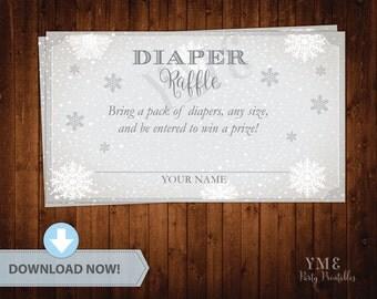 Diaper Raffle Ticket - Winter Wonderland Baby Shower Diaper Raffle Card - Snowflake Baby Shower Diaper Request # 033