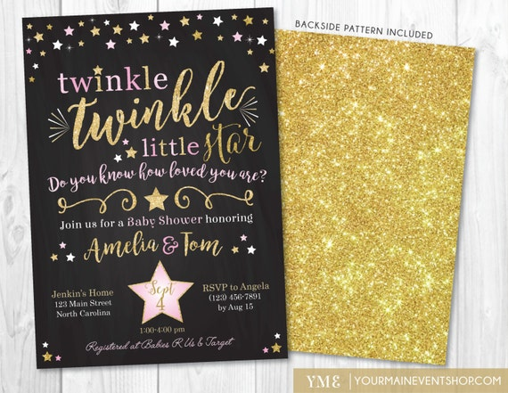 Twinkle Twinkle Little Star Baby Shower Invitation, Twinkle Twinkle Shower Invite, Pink and Gold Star Invite, Girl Baby Shower • BS-T-01