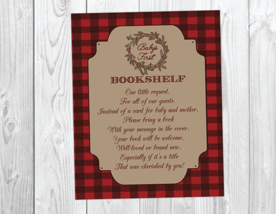 Holiday Christmas Baby Shower Book Request Card - It's a Boy - Christmas Flannel Baby's First Bookshelf #037
