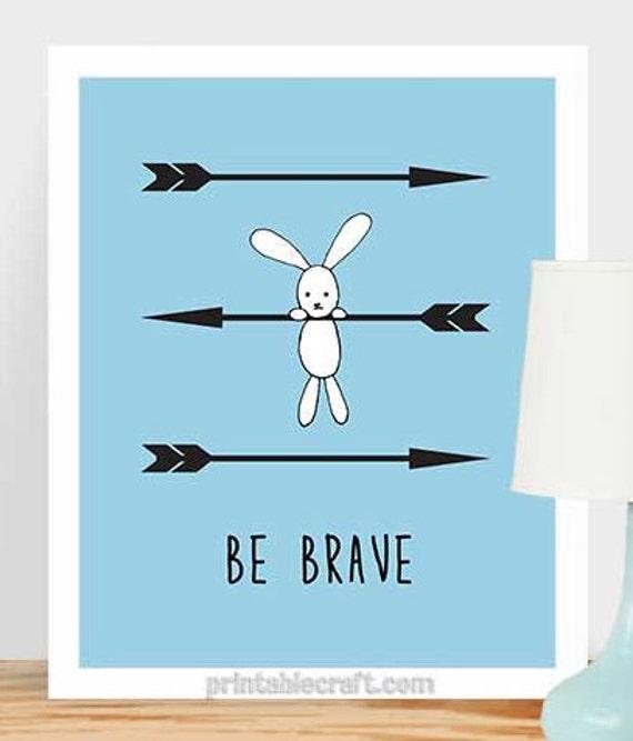 Baby Boy Nursery Decor Be Brave Nursery Inspirational Quote Art Print ...
