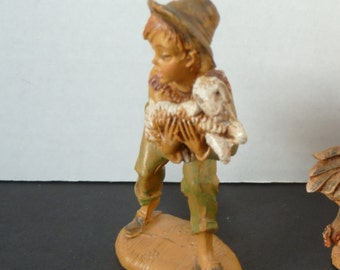 Vintage FONTANINI DEPOSE ITALY Boy with lamb figurine