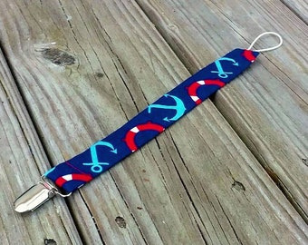Nautical Navy Blue and Red Anchor Pacifier Holder