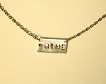 Shine Necklace, Hand Stamped Silver Bar Necklace
