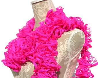 Ruffle Scarf/Crochet Ruffle Scarf/Neon Pink Scarf/Frilly Scarf/Crochet Scarf/Womans Scarf/Hand Crochet Scarf/Gift for Her/Ready to ship