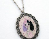 Dollhouse Split Hair Melanie Doll, Big Eyed Girl Sweet Lolita Pink Bow Pop Surrealism, Lowbrow Special Edition Cameo Necklace Print Cry Baby