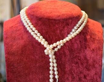 Antique 1920's pearl necklace jewelry antique Rousselet Paris luxury