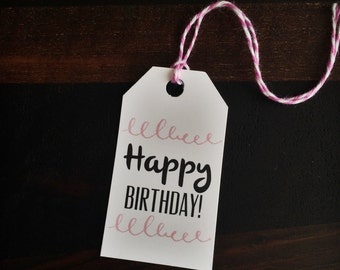 Happy birthday tag, birthday tag, gift tag, party tag, custom tag, birthday gift - TWINE included