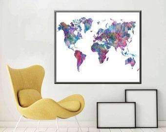 Poster World Map Print World Map Art World map Wall Art Large World Map Poster Large World Map