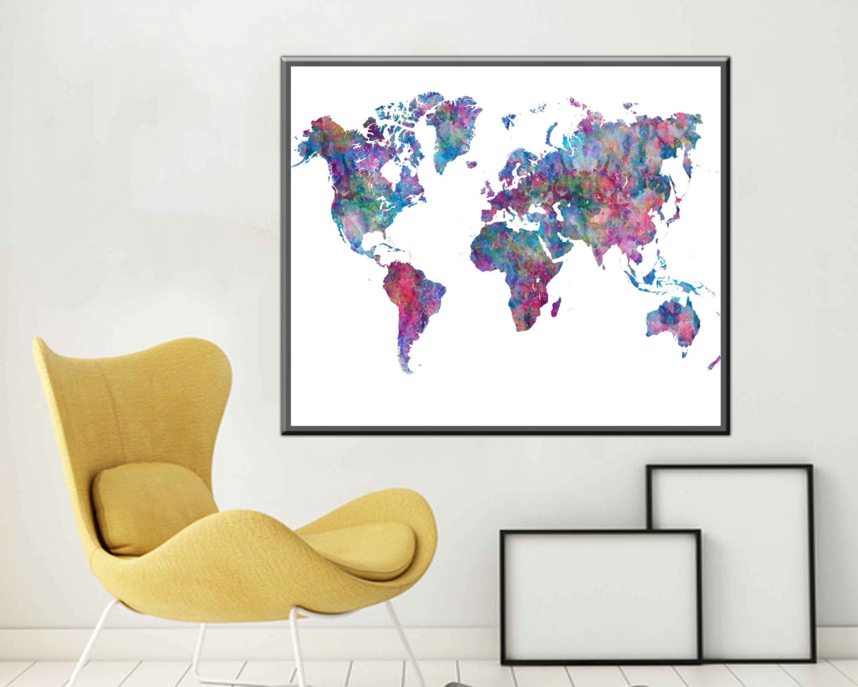 Poster world map print world map art world map wall art large for World map wall print