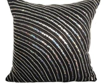 black silver pillow cover black silver sequinned pillow black silver beaded decorative pillow 14x14 16x16 18x18