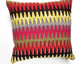 Cushion with insert, Cotton, African pattern, Ethno, 18 x 18'' cotton