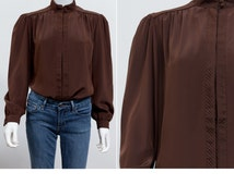 Vintage 80's Gailord Chocolate Brown Blouse • Steampunk Blouse • High Collar Blouse