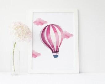 hot air balloon nursery, hot air balloon print, pink nursery decor, pink Nursery art, balloon print, baby girl nursery, pink hot air balloon