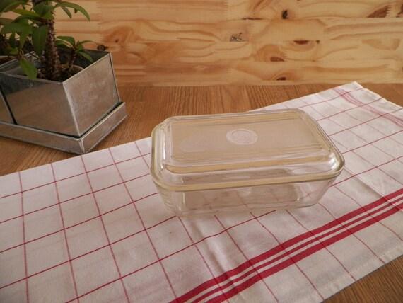 butter dish vintage clear glass with lid duralex france. Black Bedroom Furniture Sets. Home Design Ideas