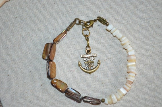 Ankle Bracelet Shells & Anchor, Shell Beads with Anchor Charm, Goonies Style Anklet