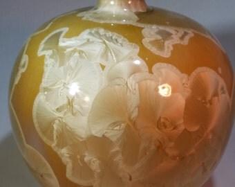 Crystal Glazed Bottle:  Golden Crystals on a Caramel Background
