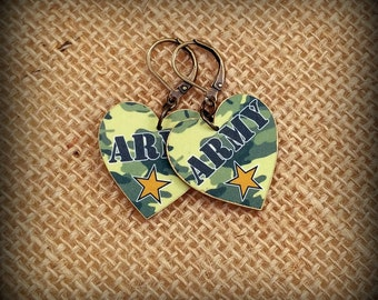 Army Earrings - Army Jewelry - Camouflage Earrings - Camouflage Jewelry - In The Army Now - Government Issue - Shrink Plastic - Show Support