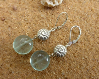 Flourite Earrings Shell Aqua Gemstone Sterling Silver Leverback Hill Tribe Silver Shell Nautilus Artisan Boho Designer
