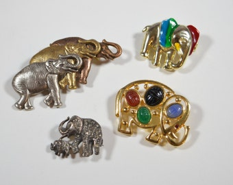 Vintage Elephant Pins LOT of 4 Elephant Pins Brooches For the Elephant Lover For the Animal Lover Figural Pins Figural Jewelry Animal Pins