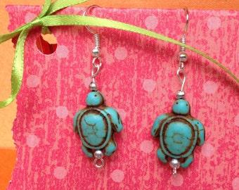 Turtle earrings-Turtle jewelry-Clip on earrings-kids-Teen dangles-Tween gifts-Beach jewelry-Nickel free-Childrens-Blue-Stone-Easter gifts