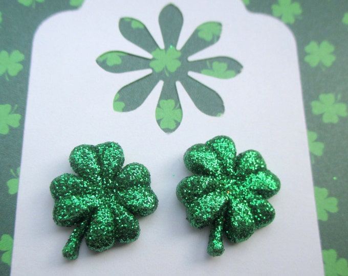 St. Patricks Day earrings-Green Shamrock studs-Four leaf clover-Irish jewelry-Sparkly jewelry-Childrens clip on earring-kids jewelry