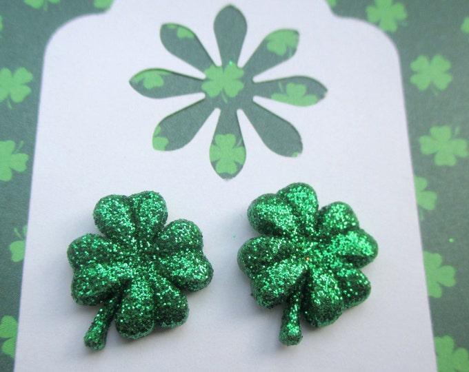 St. Patricks Day earrings-Green Shamrock studs-Four leaf clover-Irish jewelry-Sparkly jewelry-Childrens clip on earring-kids jewelry