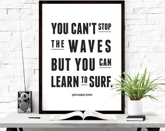 You Can Learn To Surf, Digital download art, Surf quote poster, Surf print, Subway wall art, Quote prints, Surf decor, Motivational Print