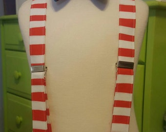 Children's Suspenders or Bowtie, Bow tie,  Dr Seuss, Cat in the Hat Fabric