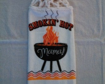 Smokin' Hot Moma! Hanging Kitchen Towel