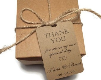 Wedding Thank You Tags -Personalized Wedding Favor Tags- thank you for sharing our special day