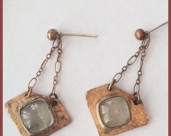Rutilated Quartz and Bronze Earrings